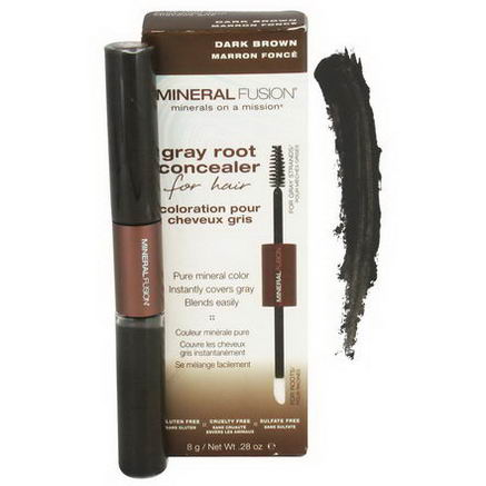 Mineral Fusion, Gray Root Concealer for Hair, Dark Brown, 28oz (8g)