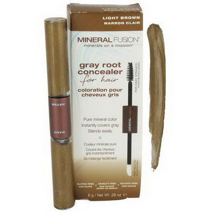 Mineral Fusion, Gray Root Concealer for Hair, Light Brown, 28oz (8g)
