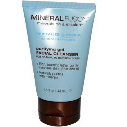 Mineral Fusion, Purifying Gel Facial Cleanser, For Normal To Oily Skin Types, 1.5 fl oz (44 ml)