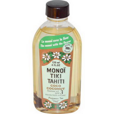 Monoi Tiare Tahiti, Coconut, Sustain Oil SPF 3 Protection Solaire, 4 fl oz (120 ml)