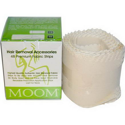 Moom, Hair Removal Accessories, Premium Fabric Strips, 48 Strips