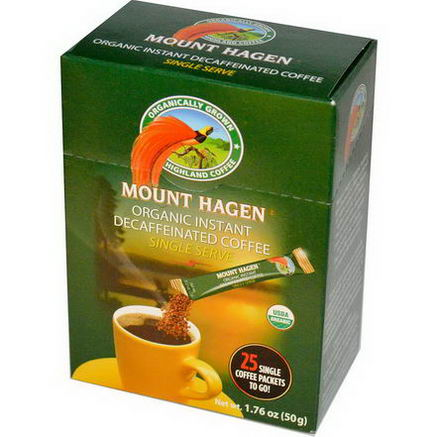 Mount Hagen, Organic Instant Decaffeinated Coffee, 25 Packets, 1.76oz (50g)