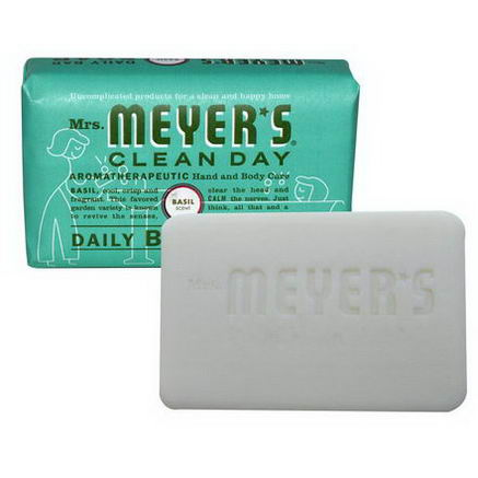 Mrs. Meyers Clean Day, Daily Bar Soap, Basil Scent, 5.3oz (150g)