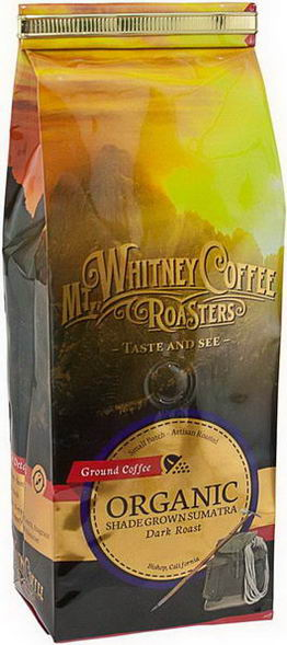 Mt. Whitney Coffee Roasters, Organic Ground Coffee, Shade Grown Sumatra Dark Roast, 12oz (340g)