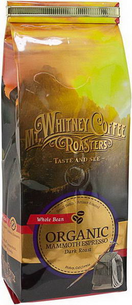 Mt. Whitney Coffee Roasters, Organic Whole Bean Coffee, Mammoth Espresso, Dark Roast, 12oz (340g)
