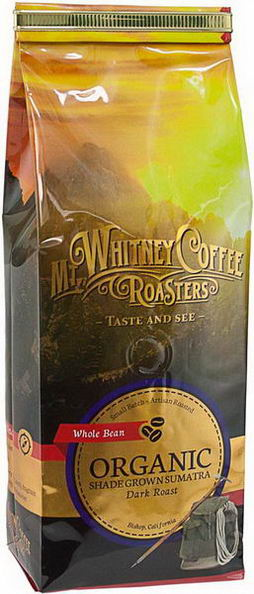 Mt. Whitney Coffee Roasters, Organic Whole Bean Coffee, Shade Grown Sumatra, Dark Roast, 12oz (340g)