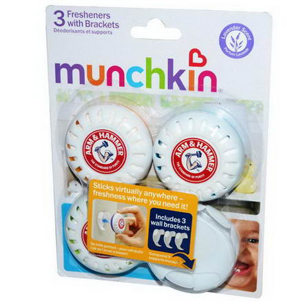 Munchkin, Arm & Hammer Fresheners with Brackets, Lavender Scent, 3 Fresheners