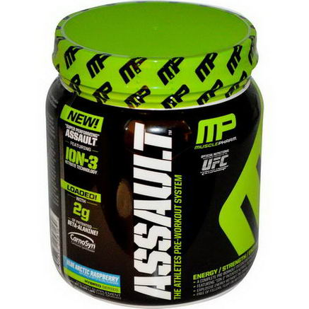 Muscle Pharm, Assault, Pre-Workout System, Blue Arctic Raspberry, 0.96 lbs (435g)
