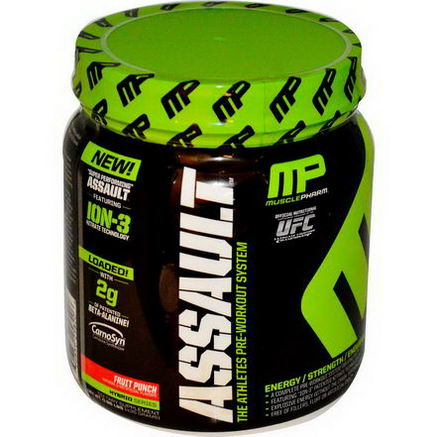 Muscle Pharm, Assault, Pre-Workout System, Fruit Punch, 0.96 lbs (435g)