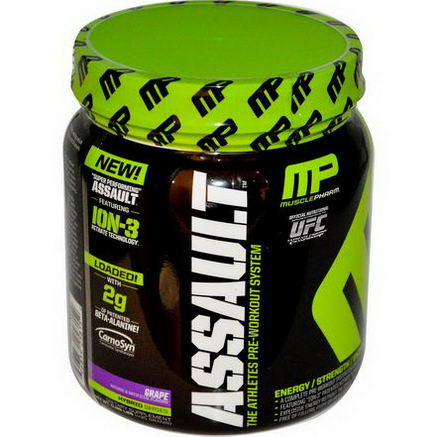 Muscle Pharm, Assault, Pre-Workout System, Grape, 0.96 lbs (435g)