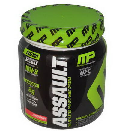 Muscle Pharm, Assault, Pre-Workout System, Watermelon, 0.96 lbs (435g)