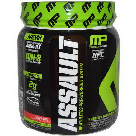 Muscle Pharm, Assault, The Athletes Pre-Workout System, Candy Apple, 0.96 lbs (435g)