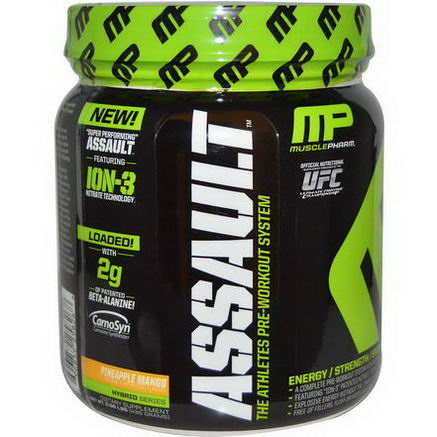 Muscle Pharm, Assault, The Athletes Pre-Workout System, Pineapple Mango, 0.96 lbs (435g)