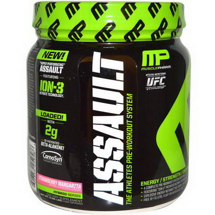 Muscle Pharm, Assault, The Athletes Pre-Workout System, Strawberry Margarita, 0.96 lbs (435g)