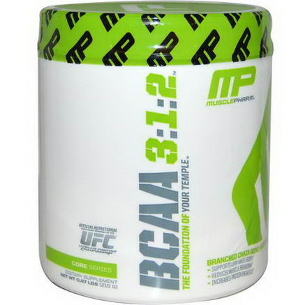 Muscle Pharm, BCAA 3:1:2, Unflavored Powder, 0.47 lbs (215g)