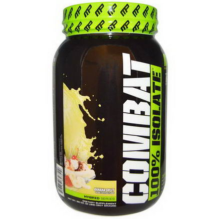 Muscle Pharm, Combat, 100% Isolate, Banana Split, 32oz (907g)