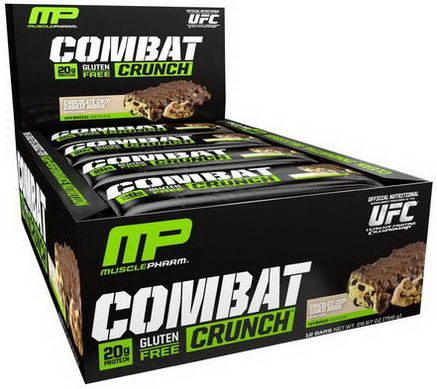 Muscle Pharm, Combat Crunch, Chocolate Chip Cookie Dough, 12 Bars, 63g Each