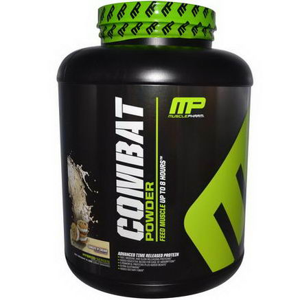 Muscle Pharm, Combat Powder, Advanced Time Release Protein, Cookies 'N' Cream, 4 lbs (1814g)