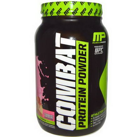 Muscle Pharm, Combat, Protein Powder, Strawberry Cheesecake, 32oz (907g)
