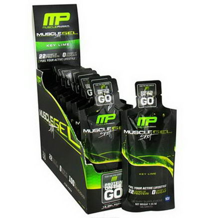 Muscle Pharm, Muscle Gel Shot, Protein in the Go, Key Lime, 12 Gel Packs, 46g Each