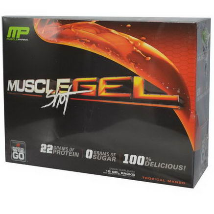 Muscle Pharm, Muscle Gel Shot, Protein on the Go, Tropical Mango, 12 Gel Packs, 46g Each