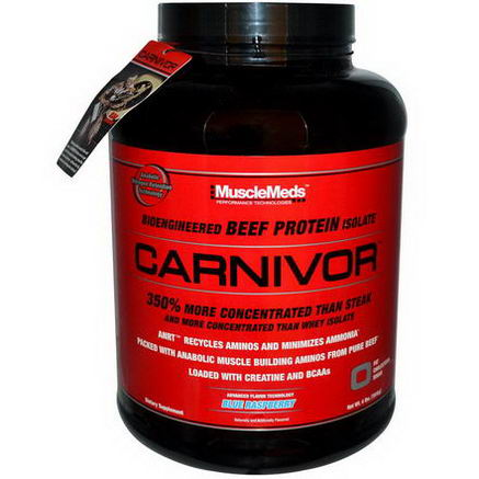 MuscleMeds, Carnivor, Bioengineered Beef Protein Isolate, Blue Raspberry, 4 lbs (1816g)