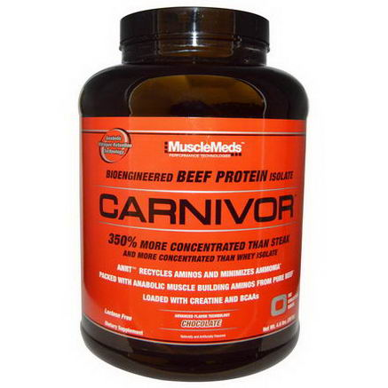 MuscleMeds, Carnivor, Bioengineered Beef Protein Isolate, Chocolate, 4.6 lbs (2072g)
