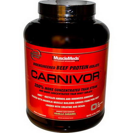 MuscleMeds, Carnivor, Bioengineered Beef Protein Isolate, Vanilla Caramel, 4.2 lbs (1904g)