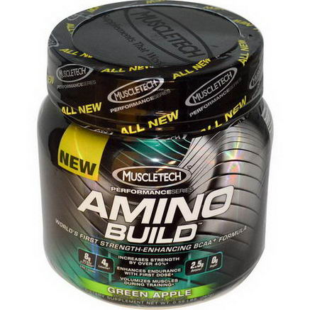 Muscletech, Amino Build, Green Apple, 0.59 lbs (267g)