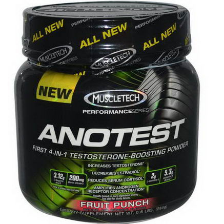 Muscletech, Anotest, Testosterone-Boosting Powder, Fruit Punch, 0.6 lbs (284g)