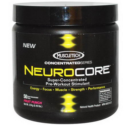 Muscletech, Concentrated Series, NeuroCore, Super-Consentrated Pre-Workout Stimulant, Fruit Punch, 0.49 lbs (224g)