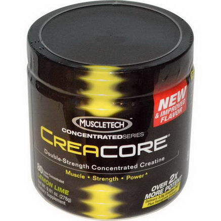 Muscletech, CreaCore, Double-Strength Concentrated Creatine, Lemon Lime, 9.81oz (278g)