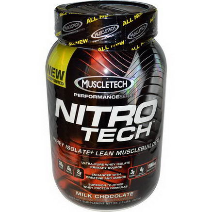 Muscletech, Nitro-Tech, Whey Isolate + Lean Musclebuilder, Milk Chocolate, 2.0 lbs (907g)