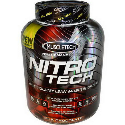 Muscletech, Nitro-Tech, Whey Isolate + Lean Musclebuilder, Milk Chocolate, 3.97 lbs (1.80 kg)