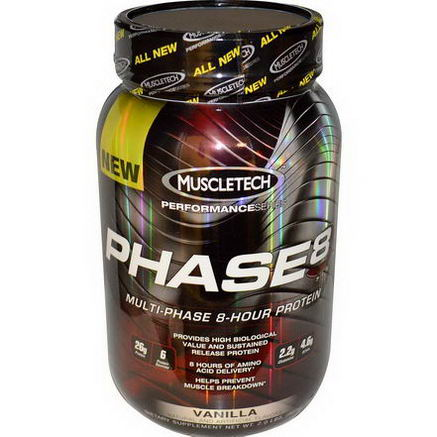 Muscletech, Performance Series, PHASE8, Multi-Phase 8-Hour Protein, Vanilla, 2.0 lbs (907g)