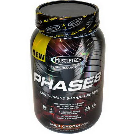Muscletech, Performance Series, Phase8, Multi-Phase 8-Hour Protein, Milk Chocolate, 2.0 lbs (907g)
