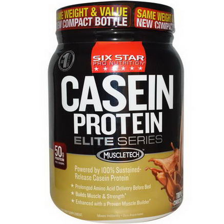 Muscletech, Six Star Pro Nutrition, Casein Protein, Elite Series, Triple Chocolate, 1.50 lbs (681g)