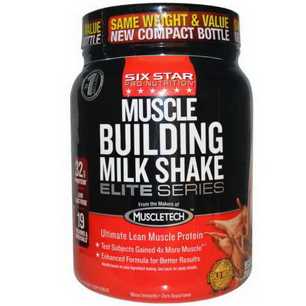 Muscletech, Six Star Pro Nutrition, Muscle Building Milk Shake, Decadent Chocolate, 2 lbs (907g)