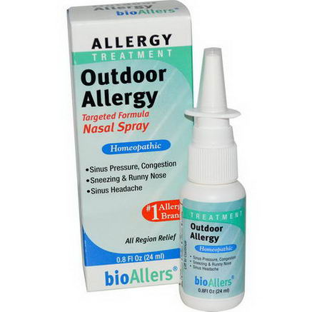 NatraBio, bioAllers, Allergy Treatment, Outdoor Allergy, Nasal Spray, 0.8 fl oz (24 ml)