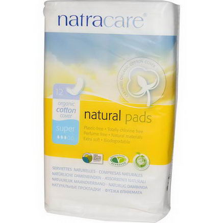 Natracare, Natural Menstrual Pads, 12 Super Pads