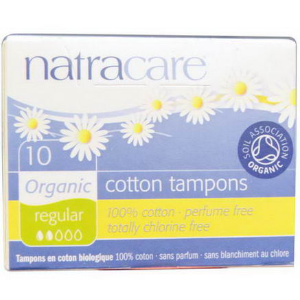 Natracare, Organic Cotton Tampons, Regular, 10 Tampons