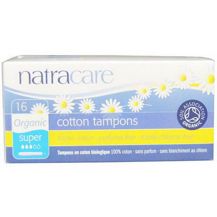 Natracare, Organic Cotton Tampons, Super, 16 Tampons