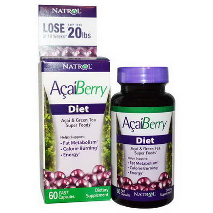 Natrol, AcaiBerry Diet, Acai & Green Tea Super Foods, 60 Fast Capsules