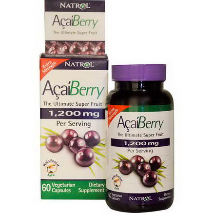 Natrol, AcaiBerry, The Ultimate Super Fruit, Extra Strength, 1, 200mg, 60 Veggie Caps