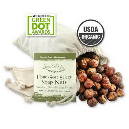 NaturOli, Organic, Hand-Sort Select Soap Nuts With 2 Muslin Drawstring Bags, 32oz