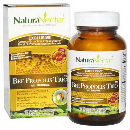 NaturaNectar, All Natural Bee Propolis Trio, 60 Veggie Caps