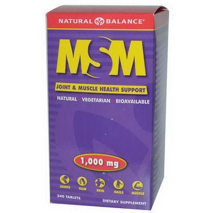 Natural Balance, MSM, Joint & Muscle Health Support, 1000mg, 240 Tablets