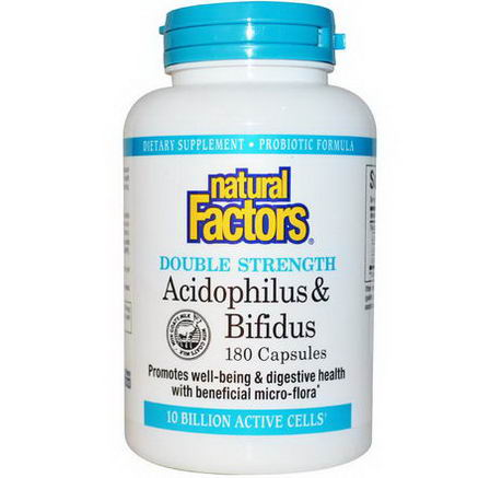 Natural Factors, Acidophilus & Bifidus, 10 Billion Active Cells, 180 Capsules (Ice)