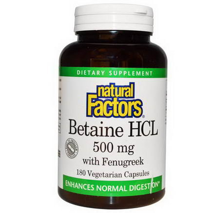 Natural Factors, Betaine HCL, with Fenugreek, 500mg, 180 Veggie Caps