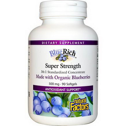 Natural Factors, BlueRich, Organic Blueberry 36:1 Concentrate, 500mg, 90 Softgels